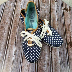Navy Blue & White Polka Dot Ked Sneakers